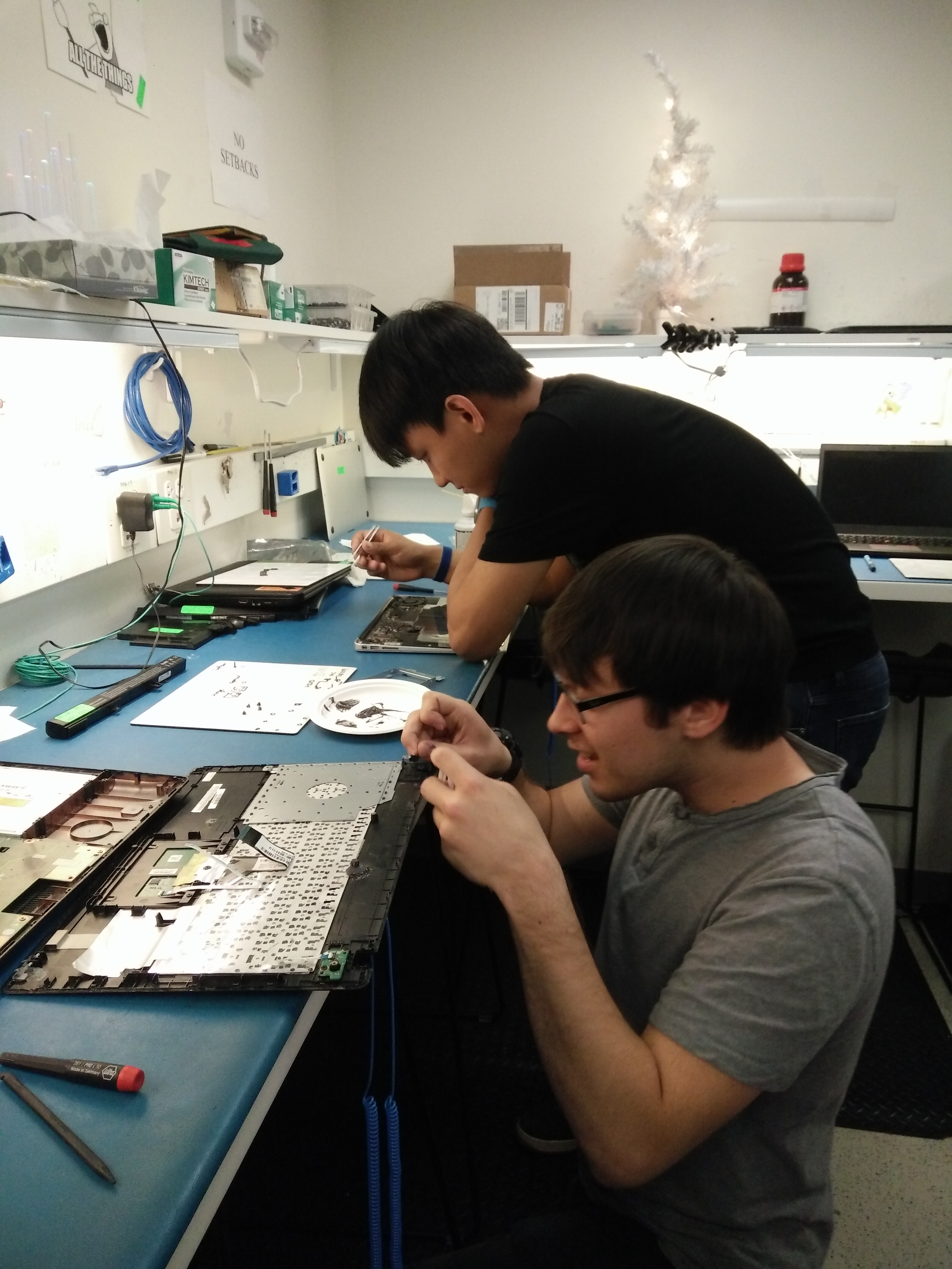 Student Techs working on hardware