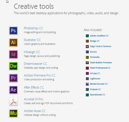 list of adobe products